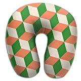 Neck Pillow With Resilient Material Orange Cubes Green White Antique Green Coral U Type Travel Pillow Super Soft Cervical Pillow