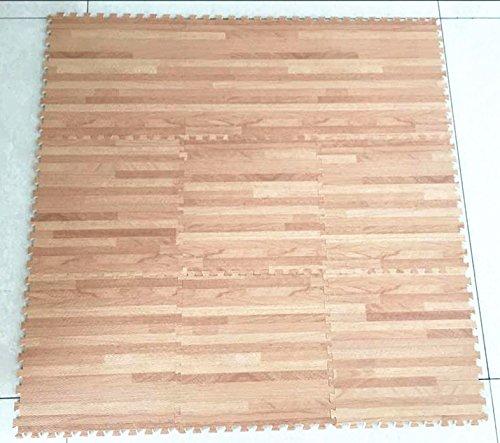 All for You 9-pc Foam Floor Mat Foam Printed木目、酷使Foamアンチ疲労床マット  ホワイトオーク B074F3P7C4