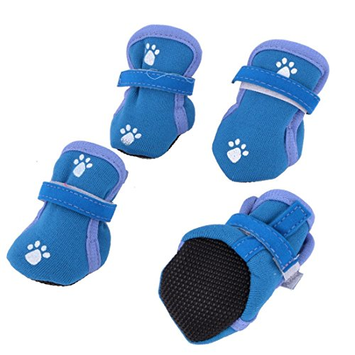 Deal Mux Paw Print Print Detachable Closure Booties Dog Shoes XXS 2Pairs Knickenten Blue