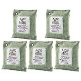 5 Pack Moso Natural 200 gm Air Purifying Bag Deodorizer. Odor Eliminator for Cars, Closets, Bathrooms and Pet Areas. Absorbs and Eliminates Odors. Green Color