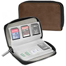 Memory Card Case, MoKo PU Leather Storage Card Holder Organizer Zippered Carrying Case, 22 Slots [8 Pages], 4 Bands & 1 Credit Card Slot, for SD CF SDHC SDXC MMC TF Nintendo Switch Games - Brown