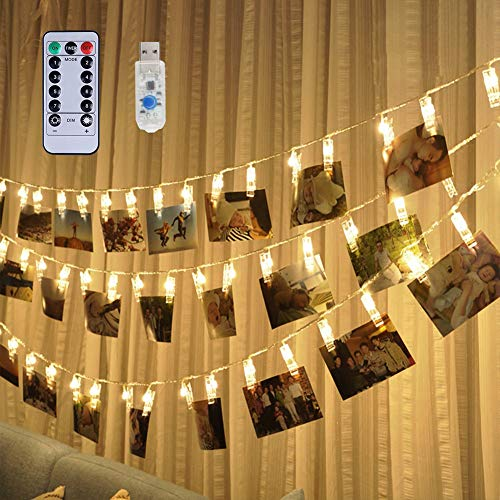Weepong 40 LED Photo Clips Lights, 16.4 ft USB Operated Remote Timer Fairy String Lights Holder for PictureHanging Artwork Teen Girls Gift Wedding Wall Party Dorm Bedroom Decor (8 Modes Warm White)