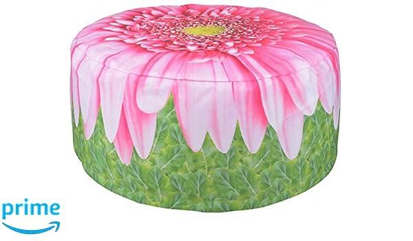 Esschert Design Puf Hinchable de Exterior Margarita 58 cm BK015 Verde y Rosa PVC