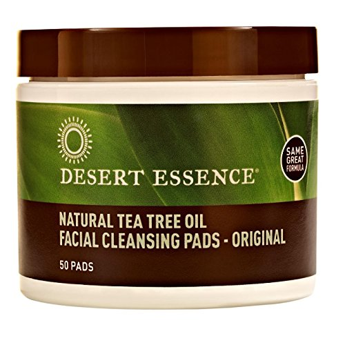 Desert Essence Natural Tea Tree Oil Facial Cleansing Pads Original, 50 (Tea Tree Oil Eco Harvest)