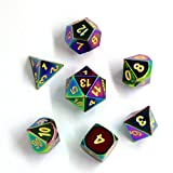 Darksilver Forge Rainbow Metal Polyhedral D&D Dice Set with Drawstring Pouch