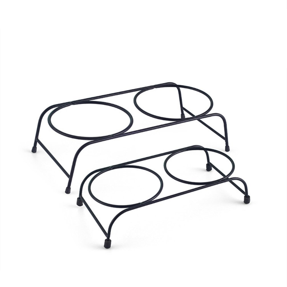 Be Good Pet Double Diner Feeder with Sturdy Non-Skid Elevated Iron Stand Wear-Resistant Dog Water Food Ceramic Double Bowls Set Perfect for Cat Dogs Puppies S by Be Good (Image #4)