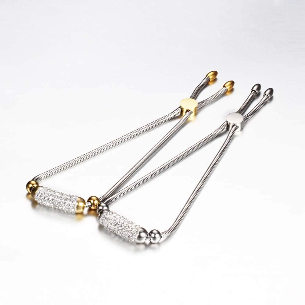 WeBuyNow Free Engrave Fashion Adjustable Charm Bracelet for Women Cubic Zirconia Crystal Blacelets /& Bangles Jewelry