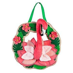 Evergreen Flag Flamingo Wreath Burlap Door Decor 91