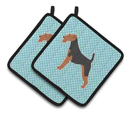 Caroline's Treasures Welsh Terrier Checkerboard Blue Pair of Pot Holders BB3685PTHD, 7.5HX7.5W, Multicolor (Welsh Terrier)