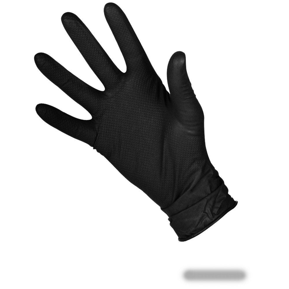 50pack (25Pairs) of LARGE Black Double Sided Extra Strong Fishscale Nitrile Grip Gloves - Comes With TheChemicalHut Anti-Bac Pen! The Chemical Hut