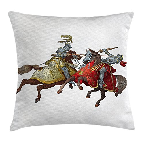 Ancient Throw Pillow Cushion Cover by Ambesonne, Middle Age Fighters Knights with Old Costume Renaissance Period Illustration Artwork, Decorative Square Accent Pillow Case, 18 X18 Inches, (Pillowcase Knight Costume)