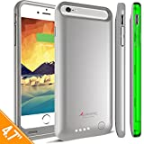 iPhone 6S / iPhone 6 Battery Case, Alpatronix BX140 4.7-inch 3100mAh Protective Portable Rechargeable Charging Case for iPhone 6S 6 Juice Bank Power Pack MFi Certified, iOS 10+ Support - Silver/Green