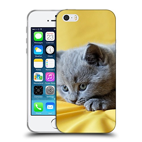 Just Phone Cases Coque de Protection TPU Silicone Case pour // V00004297 Jouer chaton gris // Apple iPhone 5 5S 5G SE