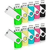 RAOYI 16GB 10PCS Bulk USB 2.0 Flash Drive Swivel Design Thumb Drives with LED Indicator Colorful,Black/Blue/Green/Pink/Yellow(5 Mixed Colors,16G,10pcs)