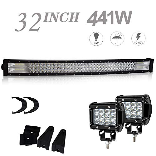 (UNI FILTER DOT Approved 32 Inch Curved LED Light Bar Offroad + 4IN 36W Cube Pods LED Fog Lights W/Rubber Isolators Wind Silencers For ATV Polaris RZR Toyota Tacoma Golf Cart Jeep Ford F150 Chevy Dodge)
