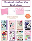 B-THERE Happy Mother Day Handmade Beautifully Embellished Amazing Mothers Day Cards Assortment of 8 Designed Cards Boxed, Large