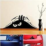 1 Pc Optimum Popular Funny Peeking Monster Car Sticker Vinyl Emblem Scary Eyes Walls Graphic Color Black
