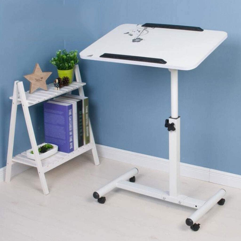 Fully Adjustable Bed and Chair Table Laminated Top Flat Pack Version Adjustable Height and Angle Portable and Sturdy Laptop Desk with Wheels XSWZAQ Days Overbed Table with Castors