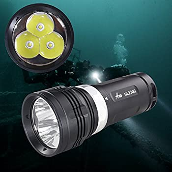 Image of ANO HL2200 Premium Quality Tech Diving Flashlight with Magnetic Switch Scuba Diving Light with Soft Hand Grip Underwater Light Primary Dive Lights True 2200 Lumens Diving Lights