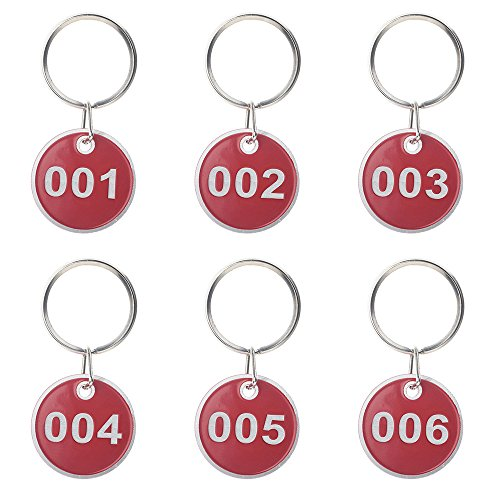 Aspire 50 Pack Metal Rim Key Tag Numbered Key Rings Red 1-50