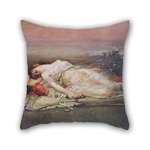 TonyLegner 16 X 16 Inches / 40 by 40 cm Oil Painting Rogelio De Egusquiza - Tristan and Isolt (Death) Throw Pillow Covers 2 Sides is Fit for Sofa Kids Room Lover Bedroom Seat Home Office