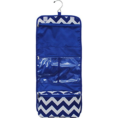 Blue Amp White Chevron Print Toiletry Cosmetic Jewelry