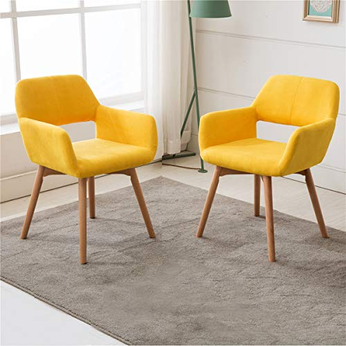 Lansen Furniture (Set of 2) Modern Living Dining Room Accent Arm Chairs Club Guest with Solid Wood Legs (Yellow) (Bedroom Living Sets Furnitures Room)
