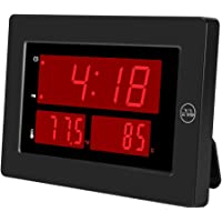 KWANWA Digital Clock with Indoor Hygrometer Thermometer Display Temperature and Humidity High Accuracy °C/°F Switch LED…