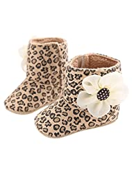 Fashion Leopard Newborn Baby Girl Prewalker Shoes with Flower Decoration and Soft Sole First Walking Shoes