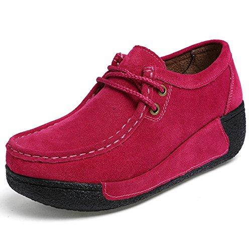 Chaussons Daim Running Plateforme de Chaussures Rouge Femmes rUrqvWE