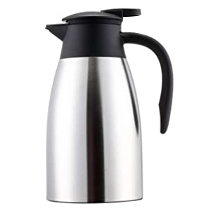 Sumerflos 1.5L/50 Oz Thermal Coffee Carafe - Double Wall Stainless Steel Vacuum Insulated Thermos - Leak Proof Lid with Dust Cover - Cool Touch Handle - Heat and Cold Retention (Silver)