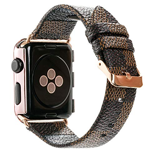 NewSilkRoad For Apple Watch Band 38mm,Classic Plaid Pattern Leather Band Strap with Stainless Metal Buckle for Apple Watch Series 3, Series 2, Series 1, Sport & Edition (D)