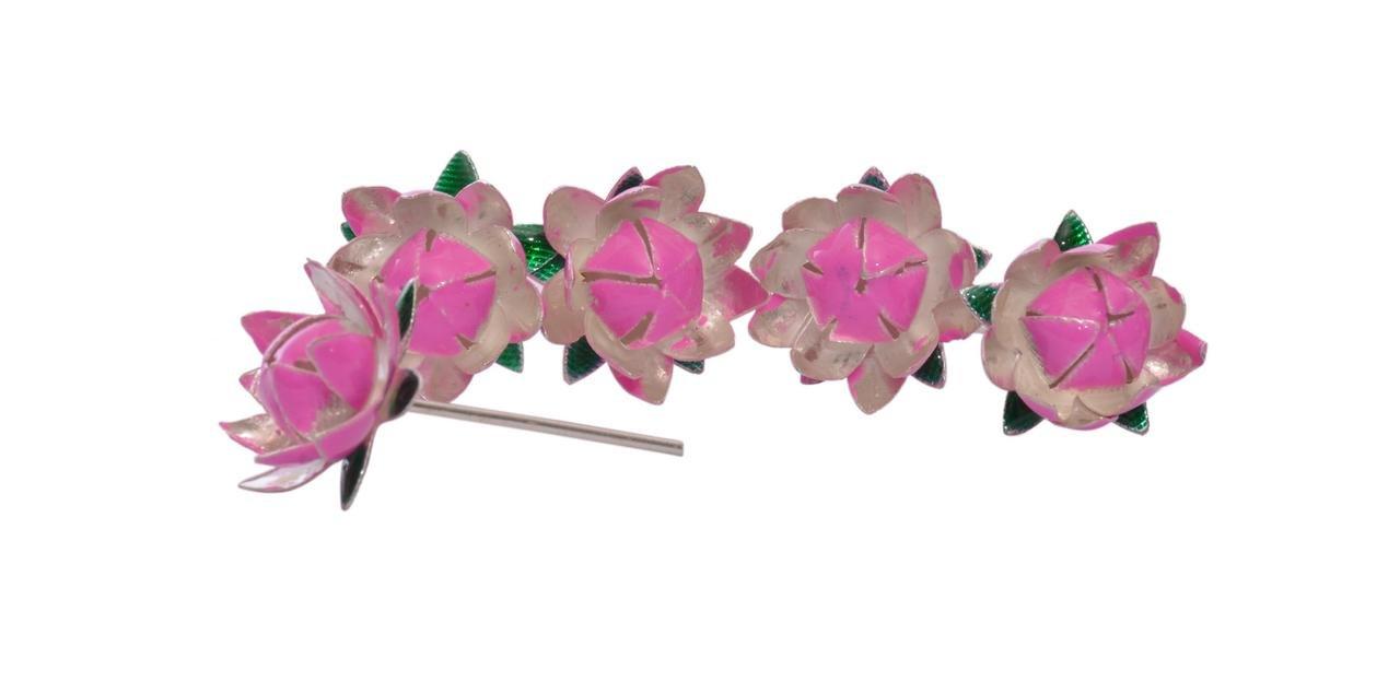 Buy Siri Creations Silver Lotus Flowers With Pink Enamel Online At
