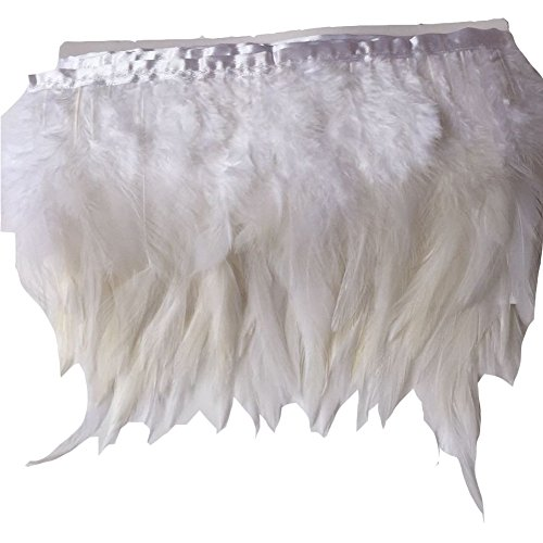 Trim Feather Boa (KOLIGHT Pack of 5 Yards Natural Rooster Hackle Feather Trim Fringe 4-6