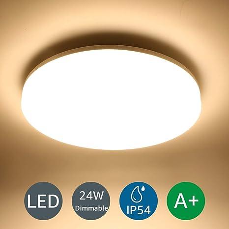 LE 24W Deckenleuchte Dimmbar, IP54 Wasserfest LED Deckenlampe Bad, 2400lm  3000K Ø33cm Badlampe, Warmweiß, ideal für Wohnzimmer, Schlafzimmer, ...