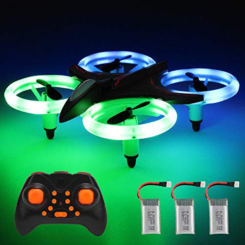 Mini LED Stunt Drone, Inkpot XXD158 Best Drone for Beginner with Altitude Hold Crash Proof RC Drone Headless RC Quadcopter RTF Colorful Light Helicopter Preferred for Learner