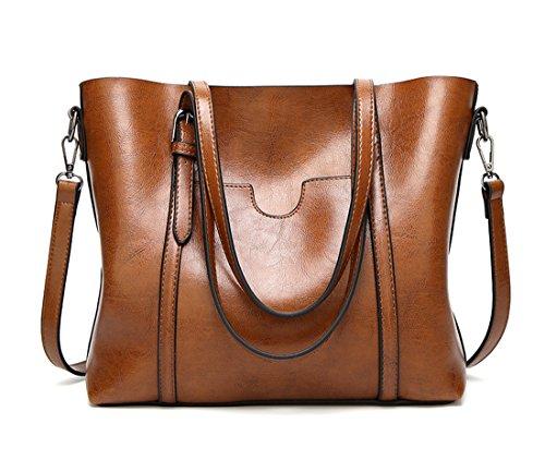 Panzexin Women Top Handle Satchel Handbags Messenger Shoulder Bag for Women Oil Wax Leather Tote Brown