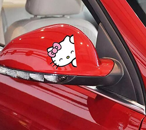 16*9CM Lovely Hello Kitty Car Rearview Mirror Decoration Sticker HS-008P Pink Color