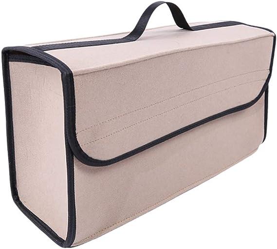 Lvguang Kofferraumtasche Auto Tasche Toolbag Mit Klettband Universal Faltbare Auto Organizer Aufbewahrungstasche Beige 50 17 25cm Auto