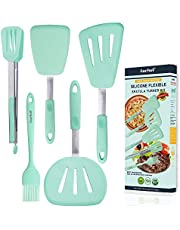 5in1 Non-Scratch Silicone Turner Spatula Set w/Tong Brush, Stainless Steel Slotted Heat-Resistant Non-Stick Cooking Utensils for Fish Pizza Steak Turners Pancake Flippers Kitchen Grill Spatulas