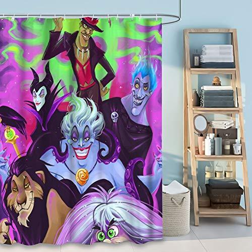 DISNEY COLLECTION Shower Curtain Evil Disney Villains Male Bathroom Shower Curtains with Hooks