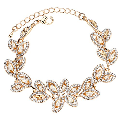 mecresh Champagne Bridal Leaf Crystal Bracelet for Women Wedding ()