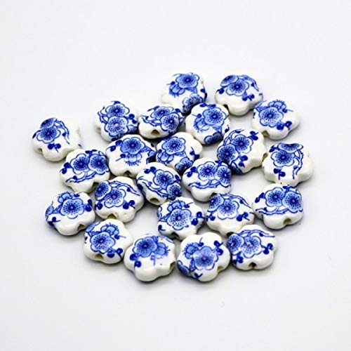 Pukido Hand Painted Porcelain Ceramic Beads 10pcs Handcrafted Loose Ceramic Beads 15mm Dark Purple Flower Beads Jewelry Flower Beads - (Color: A1 10pcs)