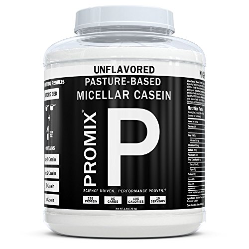 - 100% Casein Protein Powder I PROMIX Unflavored Micellar I USA Pastures I ONLY 1 Ingredient I Stimulate Muscle Growth & Recovery Slow Release Amino I Preservative Free Keto Bulk 1LB- No Soy, Gluten