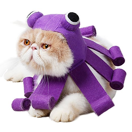 (QBLEEV Lovely Octopus Pet Cat Cosplay Hat for Halloween Christmas Holidays. Headgear Hat Felt Adjustable Touch Fastens Costume Cap for Small Dogs,Easy to Use and Wear,Premium Quality Purple)