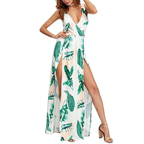 Vacaciones Vestidos Flores Detras Largo Sin Verde Claro de Mangas Noche Escotado Mujer Maxi Playa Vestido por StageOnline de Swx1ZqBnv