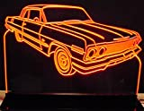 1963 Impala Acrylic Lighted Edge Lit 12'' Reflective Black Mirror Base 15 LED Sign Light Up Plaque 63 VVD1 Made in the USA