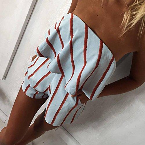 QHGstore Off hombro sin tirantes de rayas Plaid impresión Playsuits Romper Mujeres Ruffle alto cintura Jumpsuit cuadrícula