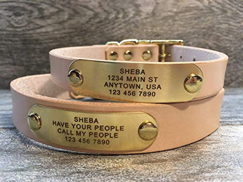 Handmade Personalized Off-White Leather Dog Collar with FREE Engraved Name Plate Brass Name Tag, Up to 3 Lines of Text (Free Nameplate)