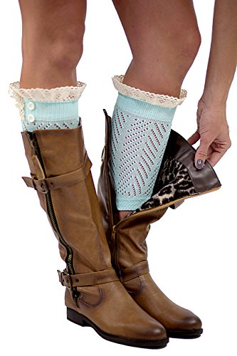 The Original Button Boot Socks with Lace Trim Boutique Socks by Modern Boho